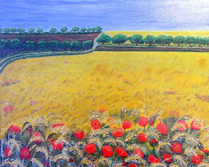 Getreidefeld mit Ähren und Mohn Gemälde